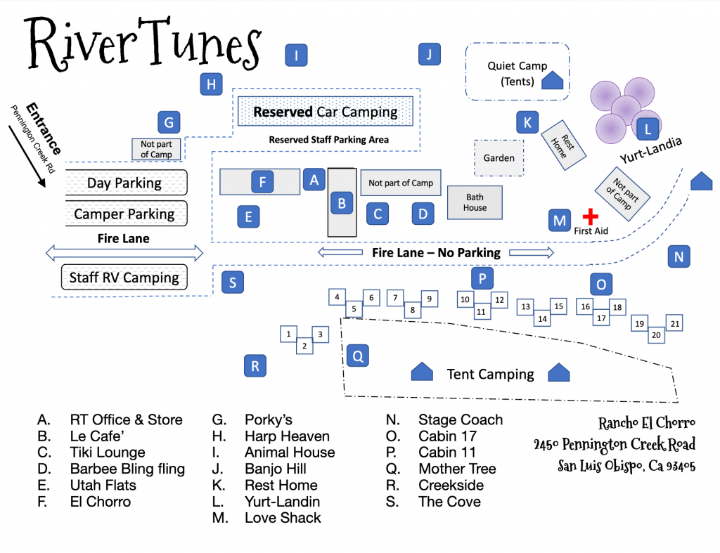 RiverTunes Camp Map 2019